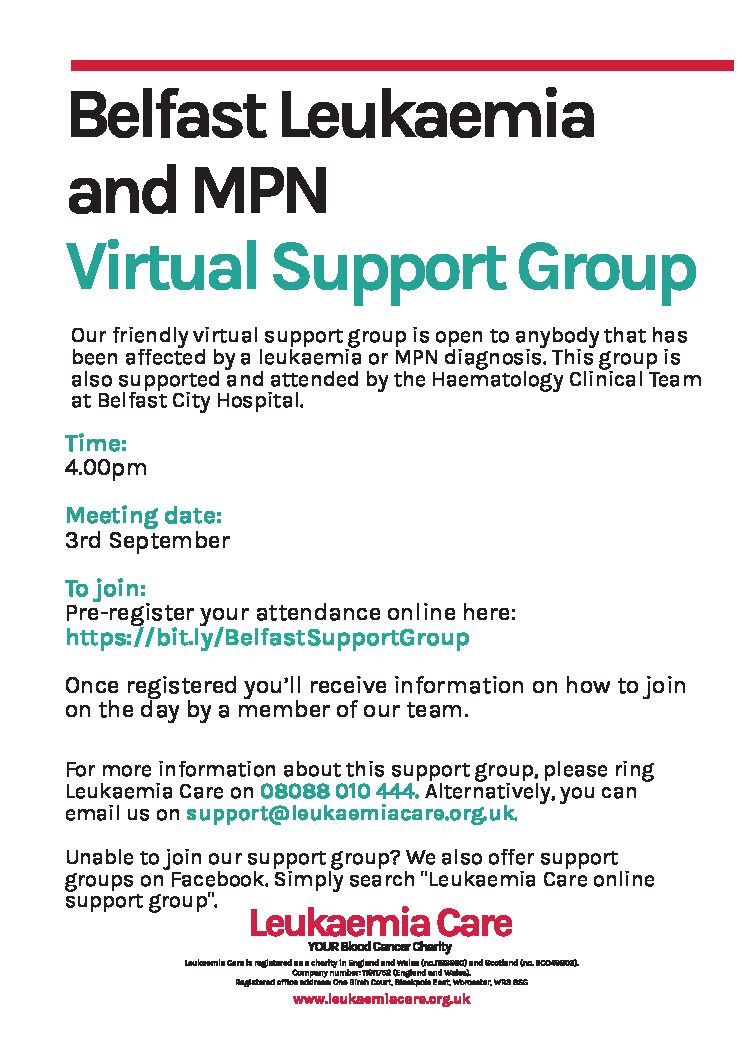 Belfast Leukaemia and MPN Virtual Support Group